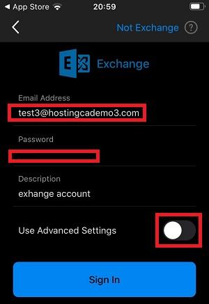 ios outlook exchange account