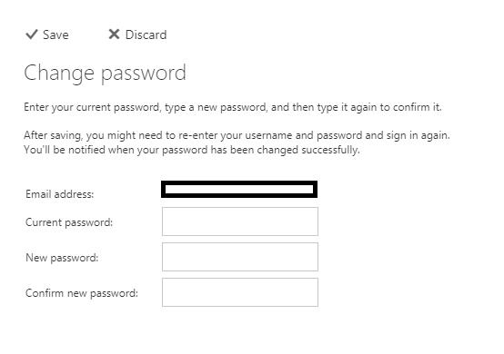 change exchange password